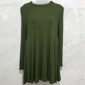 Audrey 3+1 Green Ribbed Tunic Flowy Top